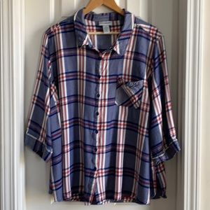 CATHERINES Plaid Button Up Shirt - size 3X